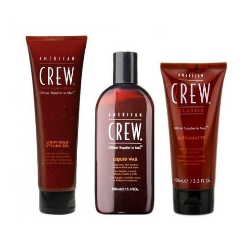 Ac light hold styling gel tuba 250ml + ac classic liquid wax 150ml + ac ultramatte 100ml marki American crew