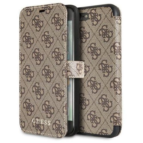 booktype 4g charms etui iphone 8 plus / 7 plus z kieszeniami na karty (brązowy) marki Guess