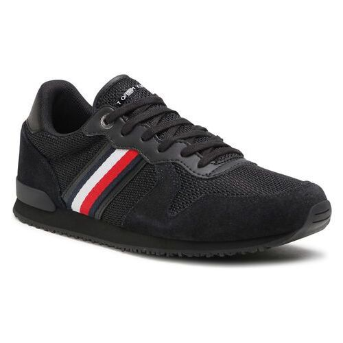 Sneakersy TOMMY HILFIGER - Iconic Material Mix Runner FM0FM03470 Black BDS, kolor czarny