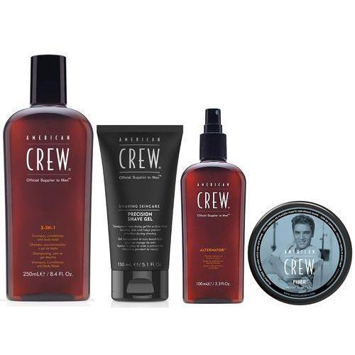 Ac essential grooming kit (ac fiber 85g + ac 3 in 1 250ml + ac alternator finishing spray 100ml + ac precision shave gel 150ml) marki American crew